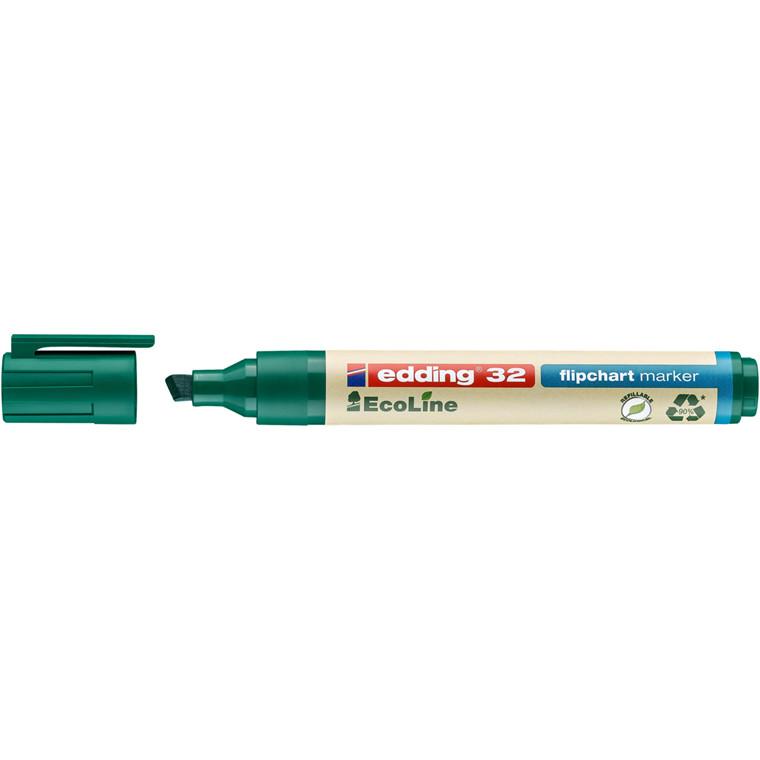 Marker Edding 32 Flipchart ECOLINE grøn 1-5mm skrå spids