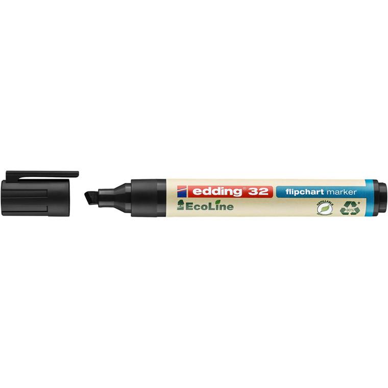 Marker Edding 32 flipchart ECOLINE sort 1-5mm skrå spids