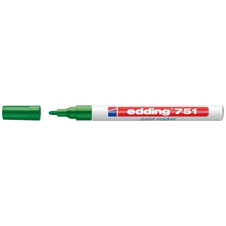 Marker Edding 751 permanent grøn rund spids 1-2mm