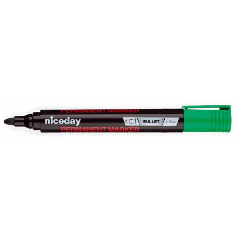 Marker permanent niceday - Grøn 1-3 mm rund spids 1636473