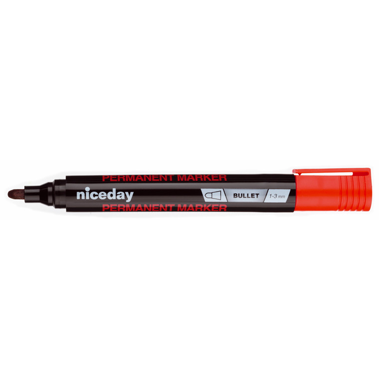 Marker niceday rød 1-3mm rund spids permanent 1636412