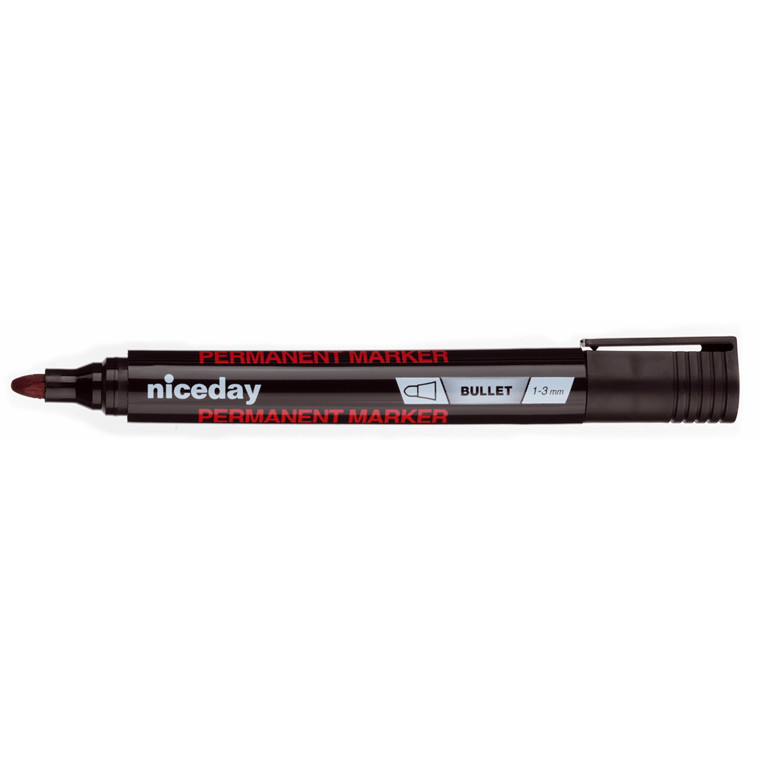 Marker niceday sort 1-3mm rund spids permanent 1636324