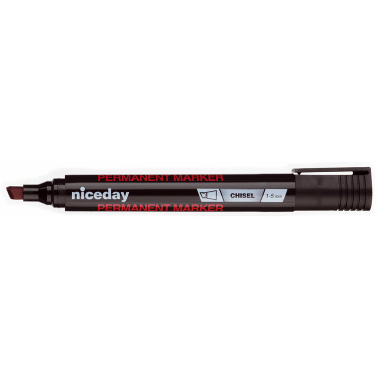 Marker niceday sort 1-5mm kantet spids permanent 1635521