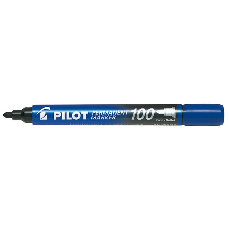 Pilot 100 Permanent marker blå 1,0 mm - Pakke med 20 stk