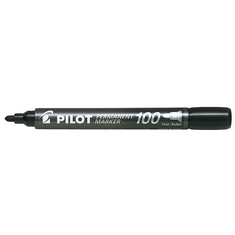 Pilot 100 Sort permanent marker 1,0 mm - Pakke med 20 stk