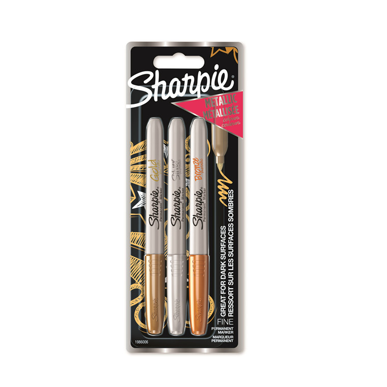 Marker Sharpie Metallic 1,4mm ass Guld/Søl/Bronze (3)