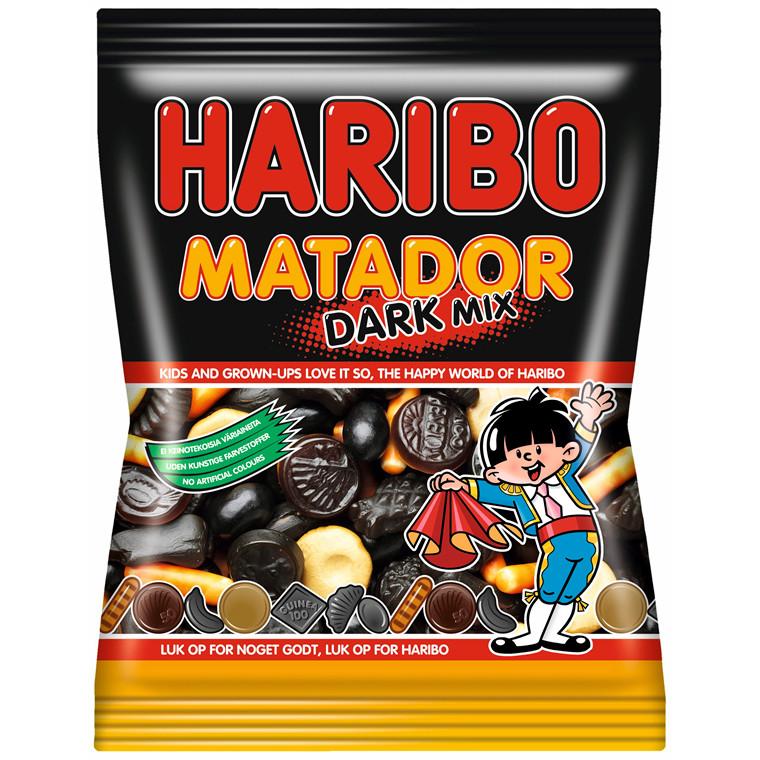 Matador Mix dark Haribo - 135 gram - 14 poser i en æske