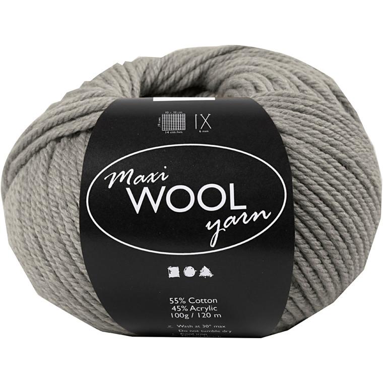 Maxi Wool uldgarn længde 125 meter grå melange | 100 gram