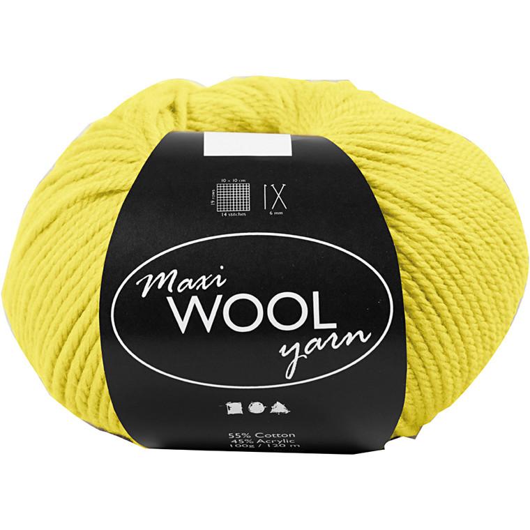 Maxi Wool uldgarn længde 125 meter gul - 100 gram