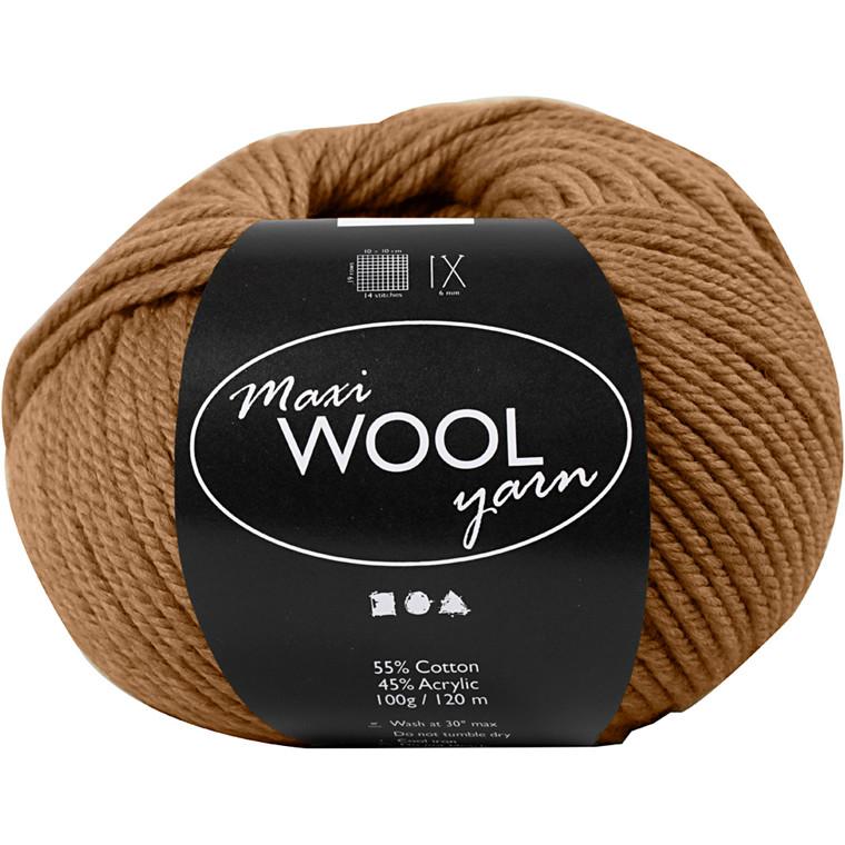 Maxi Wool uldgarn længde 125 meter lys brun | 100 gram