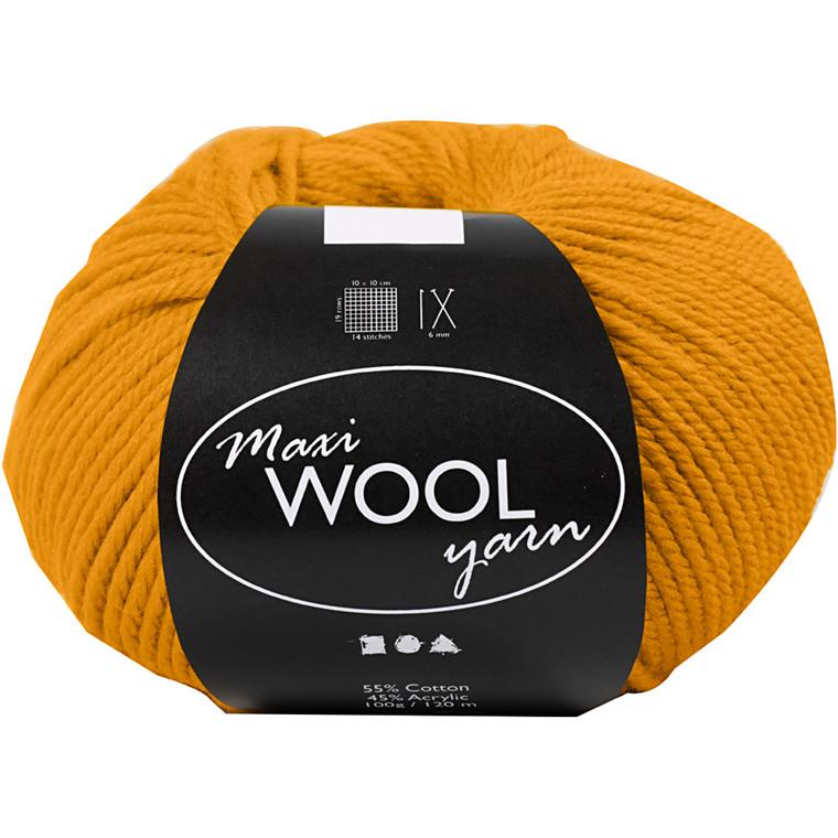 Maxi Wool uldgarn længde 125 meter mørk gul - 100 gram
