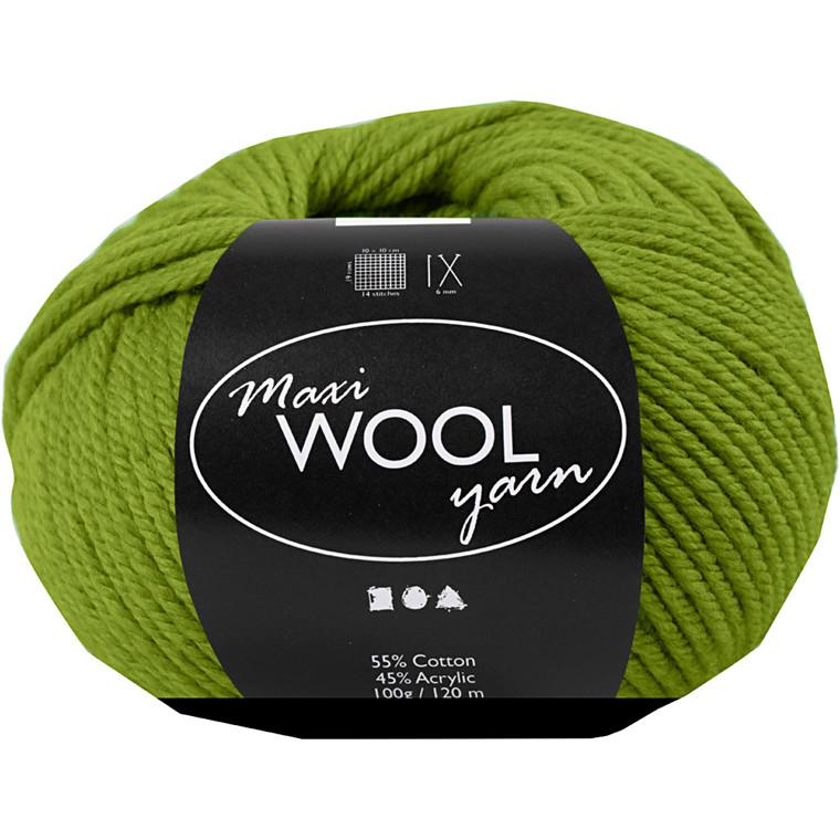 Maxi Wool uldgarn længde 125 meter olivengrøn | 100 gram