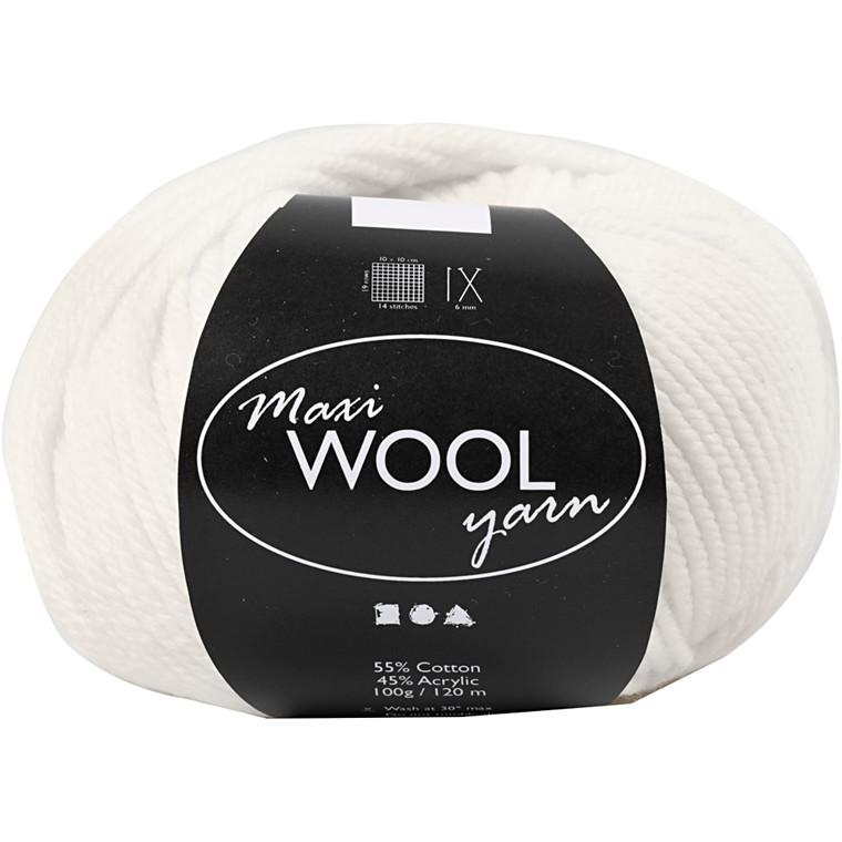 Maxi Wool uldgarn længde 125 meter råhvid - 100 gram