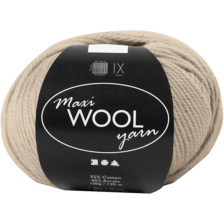 Maxi Wool uldgarn længde 125 meter sand melange | 100 gram