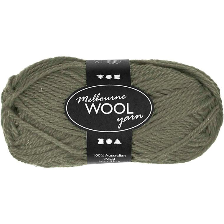 Melbourne uldgarn længde 92 meter 50 gram - mørk grøn