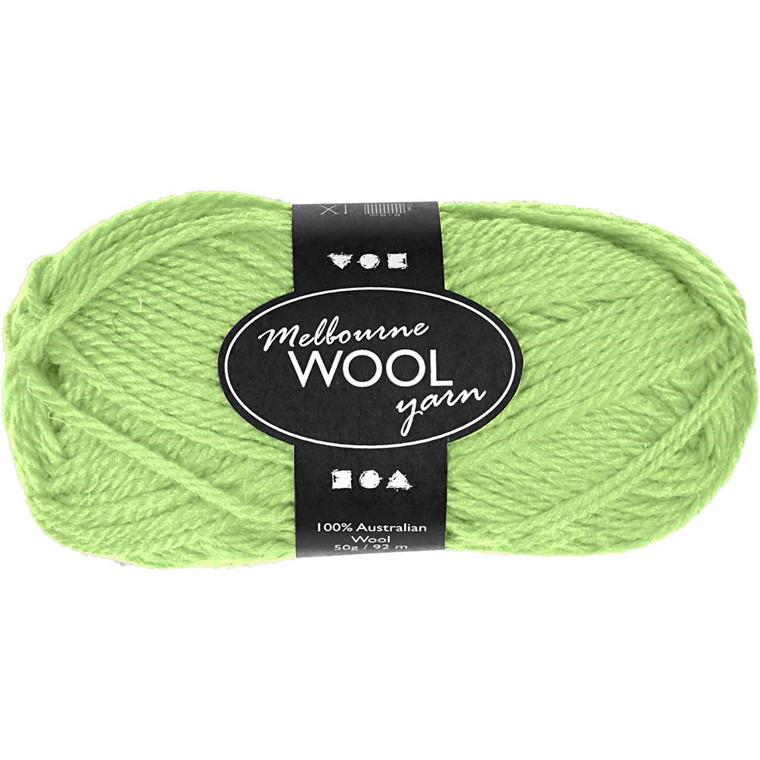 Melbourne uldgarn længde 92 meter neon grøn - 50 gram
