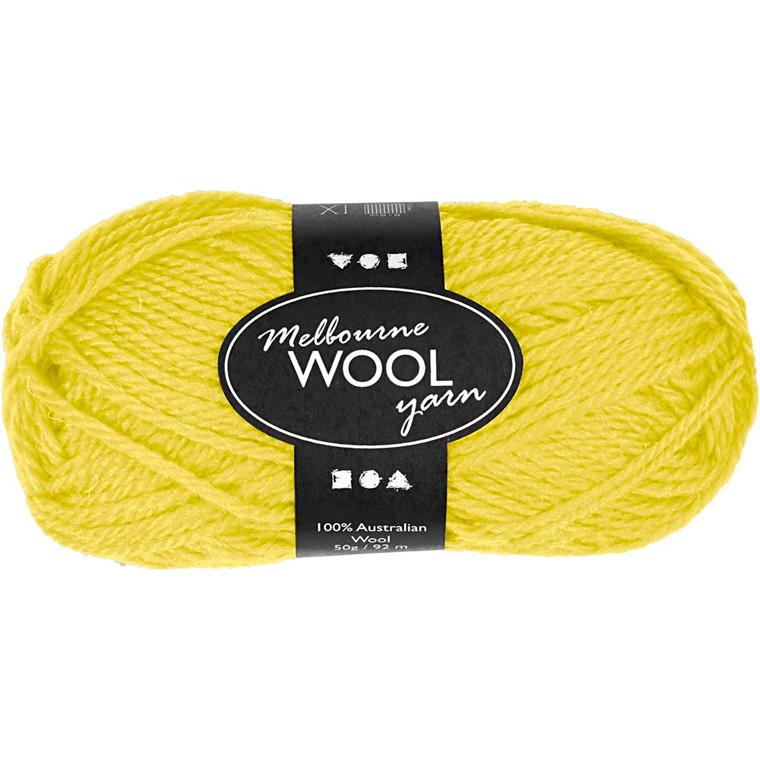 Melbourne uldgarn længde 92 meter neon gul - 50 gram