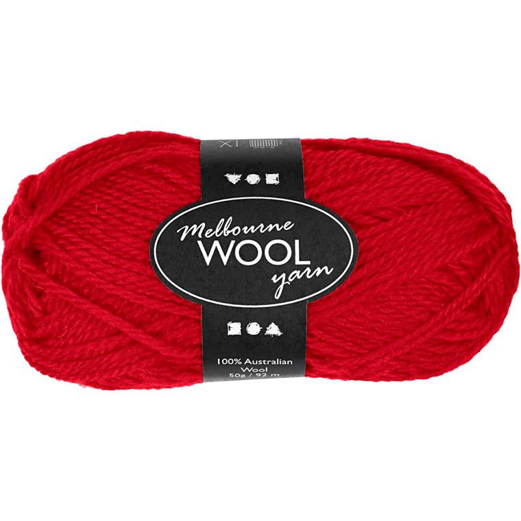 Melbourne uldgarn længde 92 meter rød - 50 gram