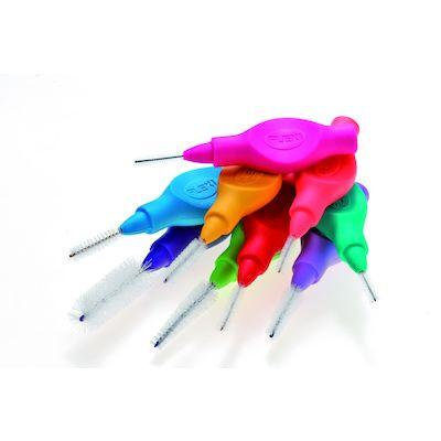 Mellemrumsbørste Ekstra Fine Tapered, Tandex Flexi, 1 æske indeholder 6 stk + 1 hætte, med håndtag,