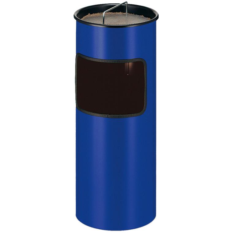 Metal affaldsspand, med askebæger, brandhæmmende, blå,
