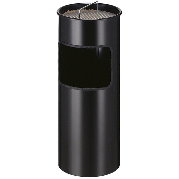 Metal affaldsspand, med askebæger, brandhæmmende, sort,