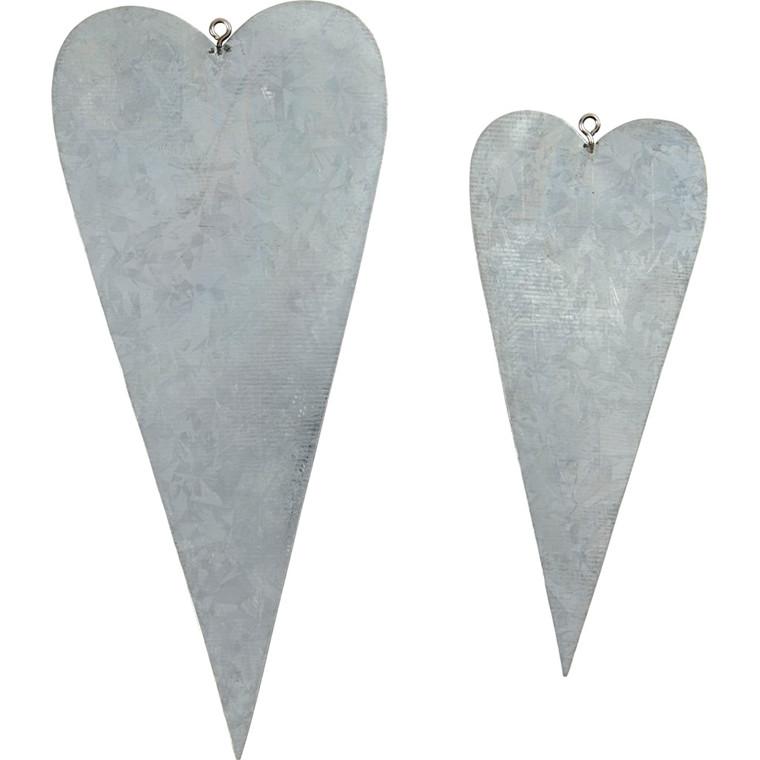 Metalhjerter Højde 12 + 16 cm, tykkelse 1 mm | 6 stk