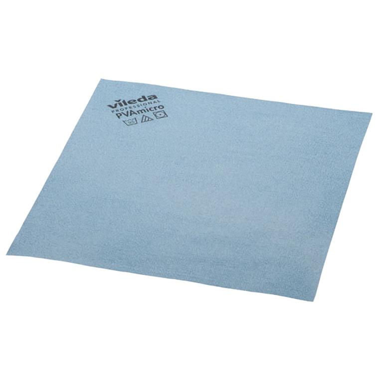 Microfiber klud, Vileda, blå, med PVA imprægnering, 80% polyester, 20% polyamid, behandlet med polyv