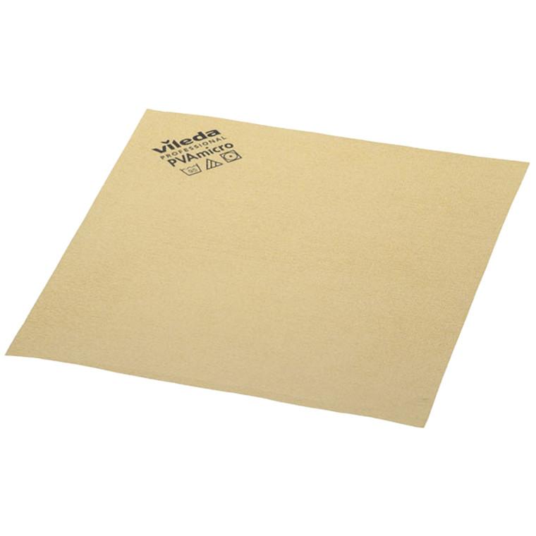 Microfiber klud, Vileda, gul, med PVA imprægnering, 80% polyester, 20% polyamid, behandlet med polyv