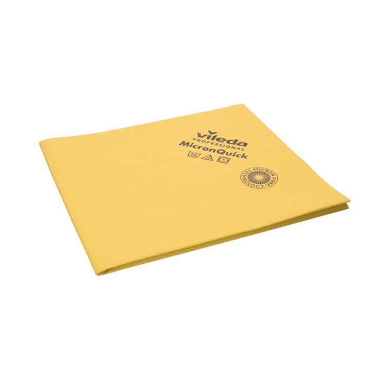 Microfiber klud, Vileda MicronQuick, gul, 100% mikrofiber (70% polyester/30% polyamid), 38x40 cm