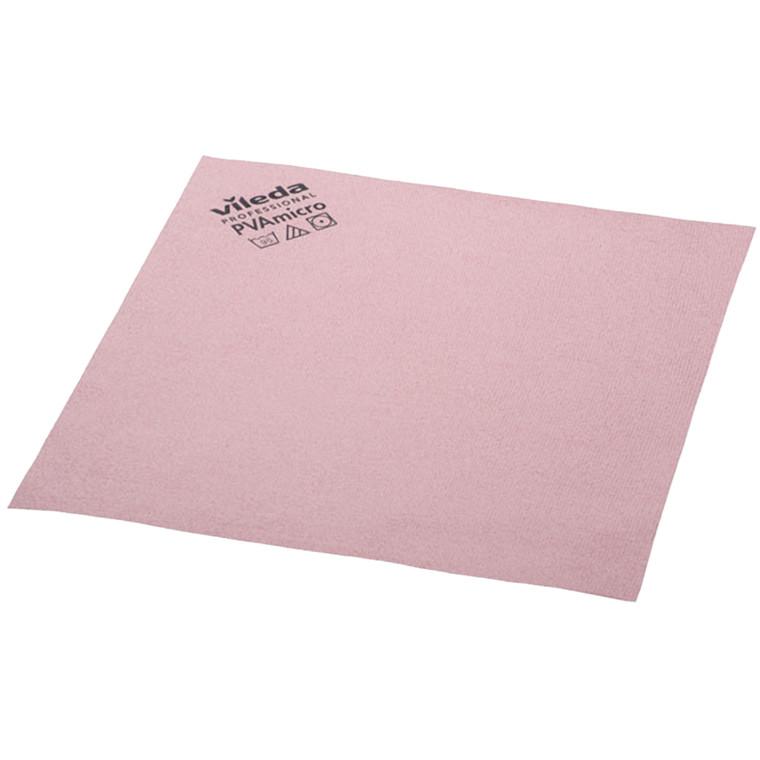 Microfiber klud, Vileda, rød, med PVA imprægnering, 80% polyester, 20% polyamid, behandlet med polyv