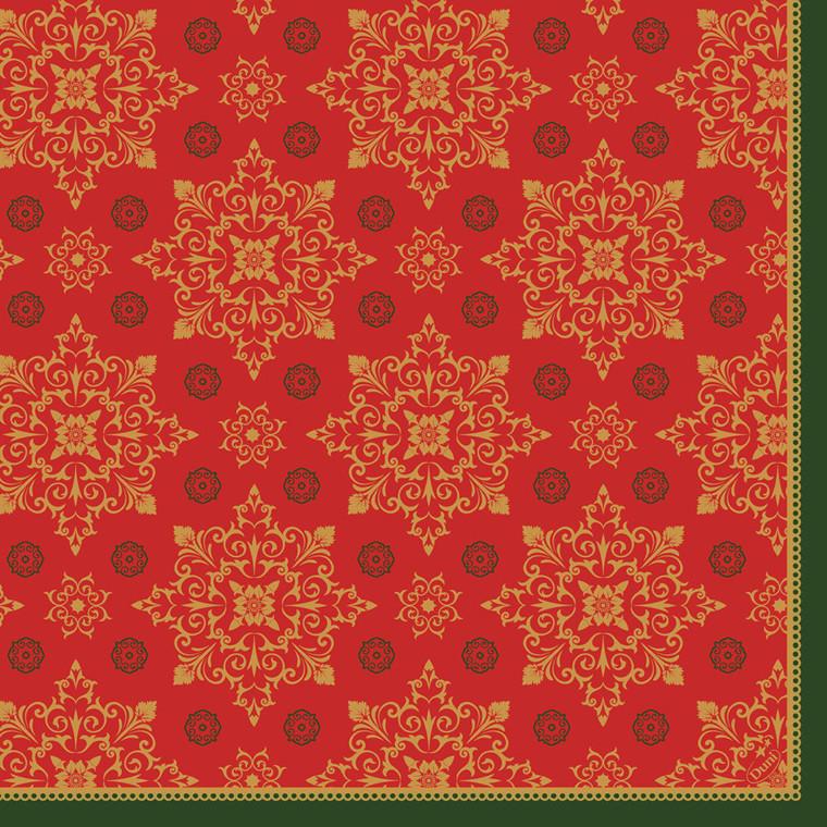 Middagsserviet, Dunilin Xmas Deco Red, 1/4 fold, 40x40cm, rød