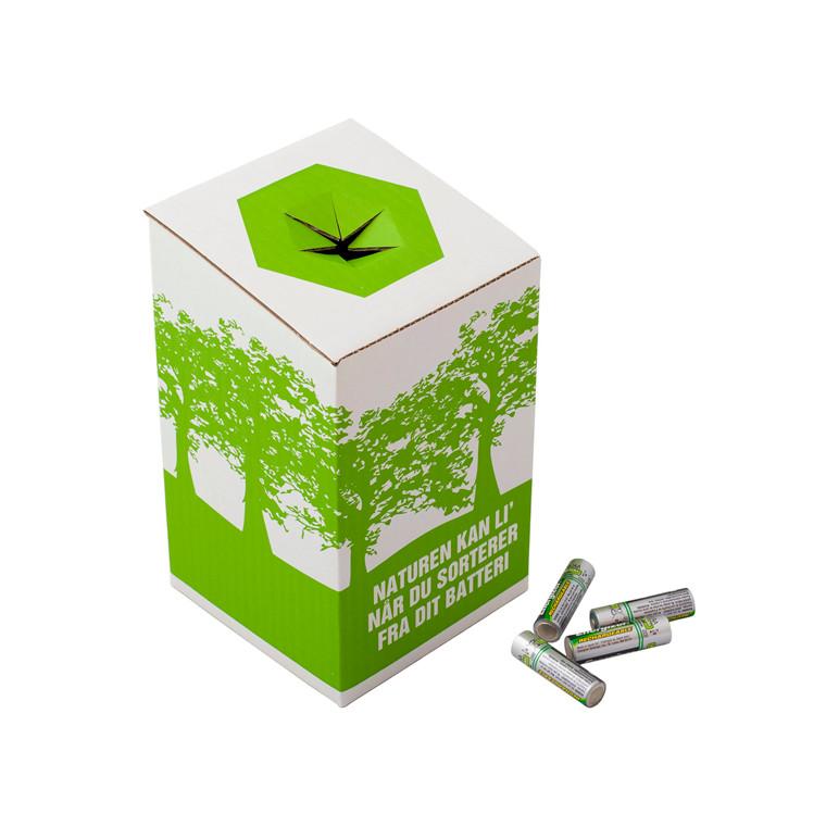 Miljøkasse til brugte batterier - 120 x 120 x 200 mm