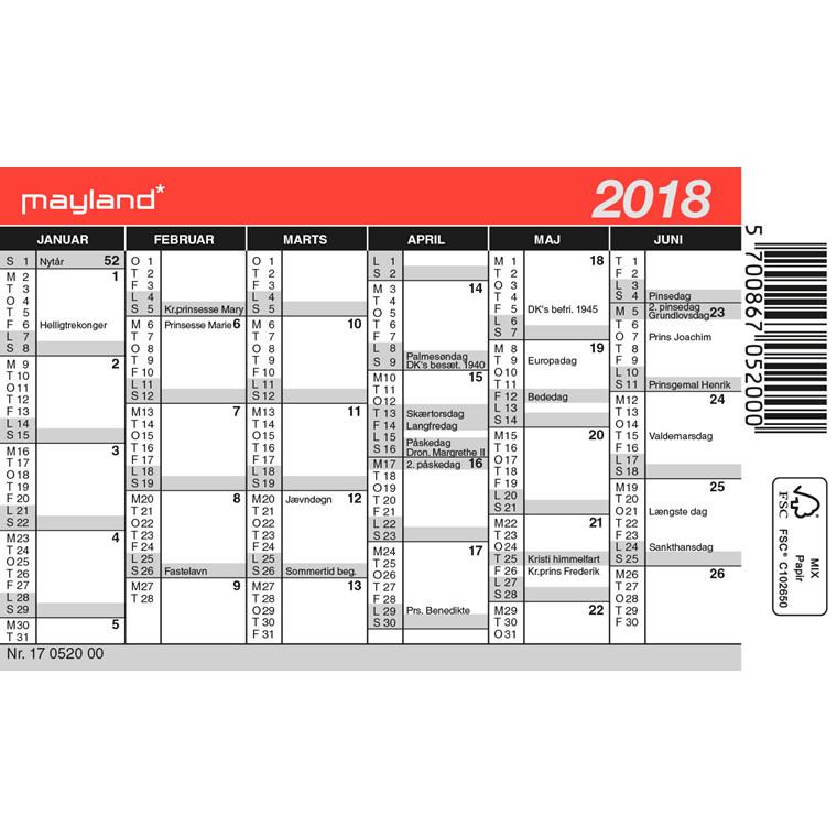 Mini kalender 2018 12 x 7 cm - 18 0520 00