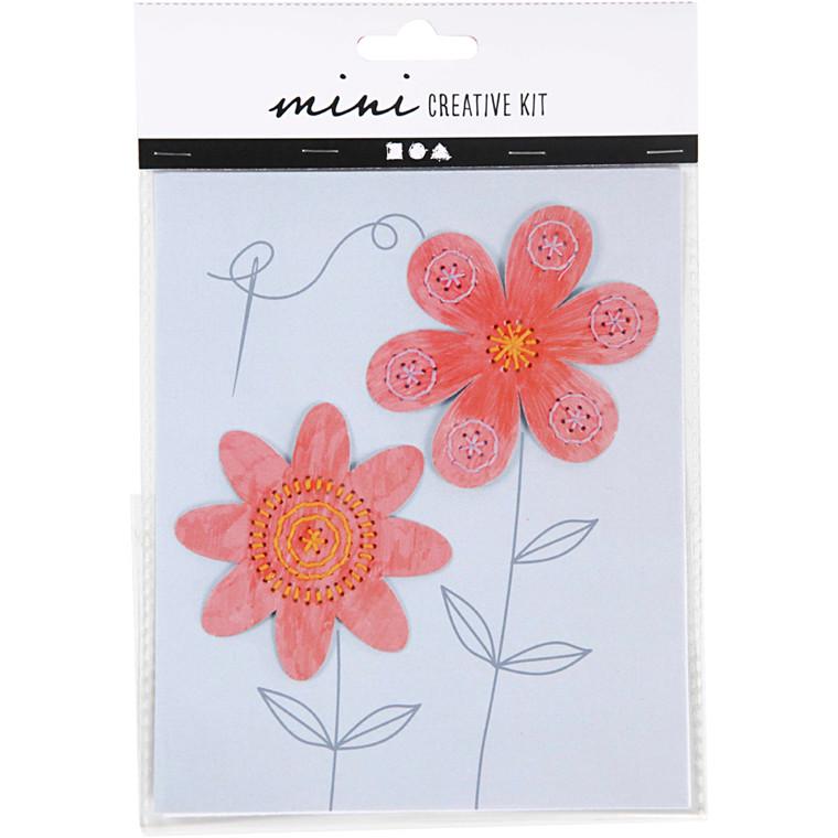 Mini kreative sæt, broderifigur - blomster, 1sæt