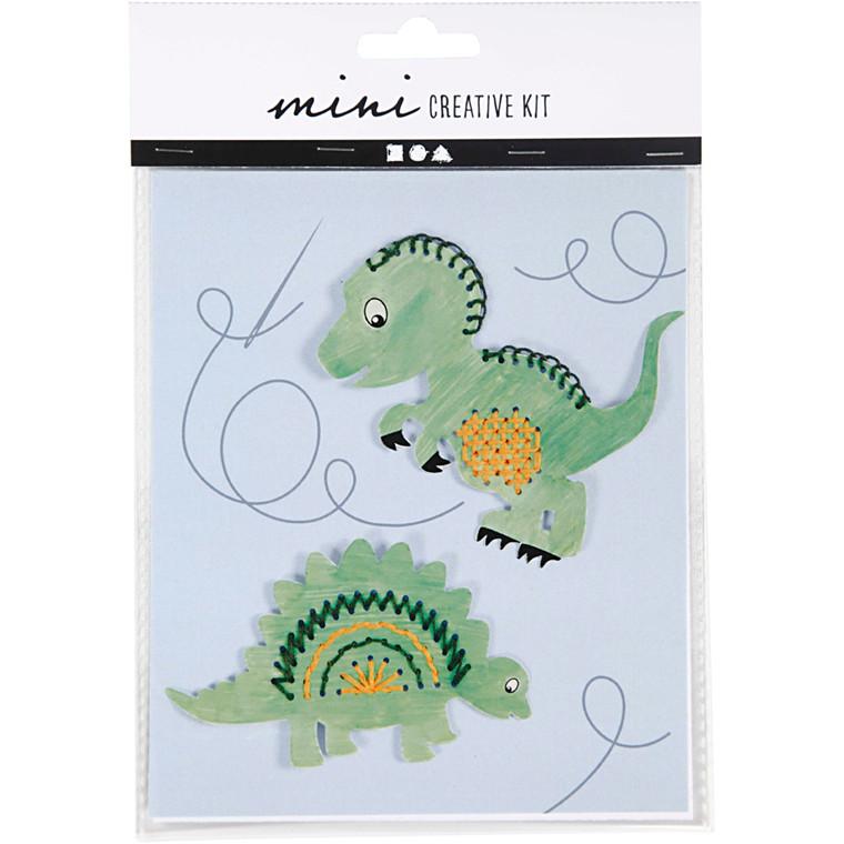 Mini kreative sæt, broderifigur - dinosaur, 1sæt