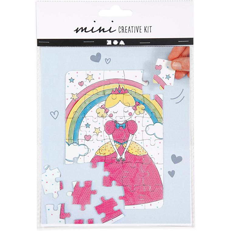 Mini kreative sæt, puslespil - prinsesse, 1sæt