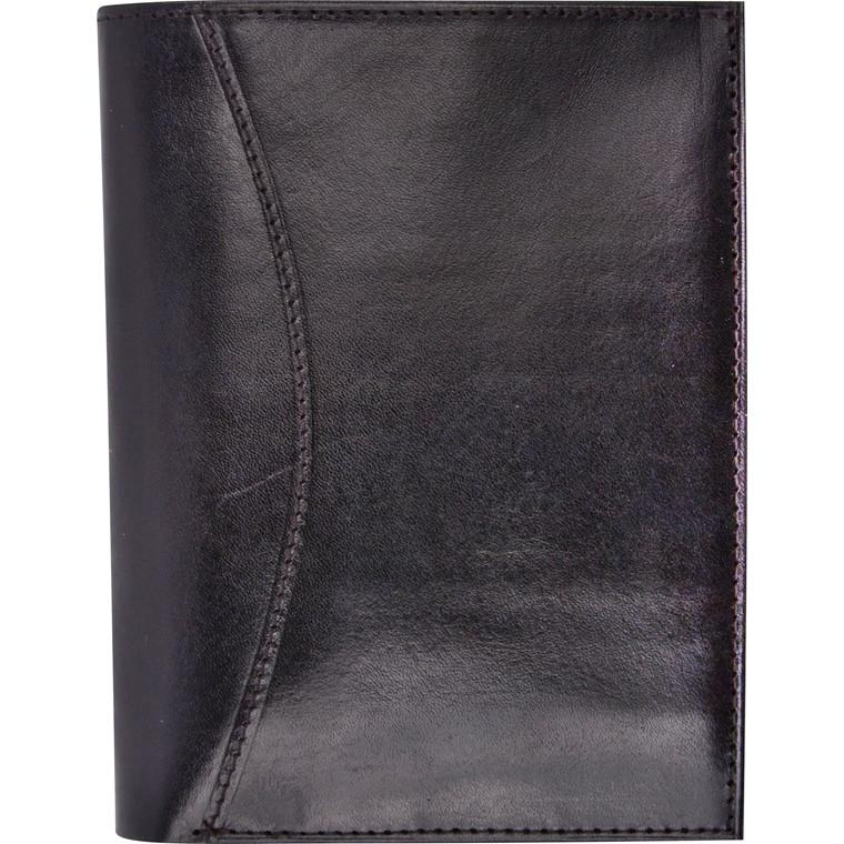 Mini Planner Mayland 2019 med tegnebog tværformat sort skind 8 x 12,6 cm - 19 0846 00