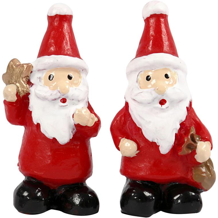 Minifigurer, H: 3,5 cm, L: 1,7 cm, julemænd, 2stk.