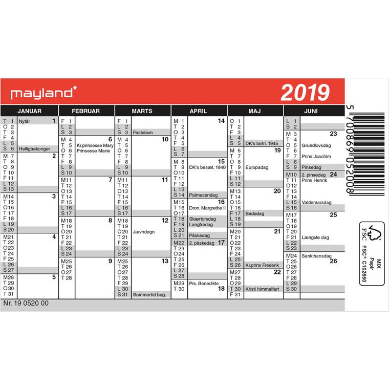 Mayland Minikalender 12 x 7 cm - 19 0520 00
