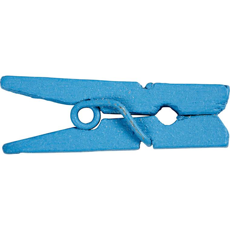 Minitøjklemme, L: 25 mm, B: 3 mm, blå, 36stk.