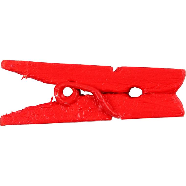 Minitøjklemme længde 25 mm bredde 3 mm rød  | 36 stk.