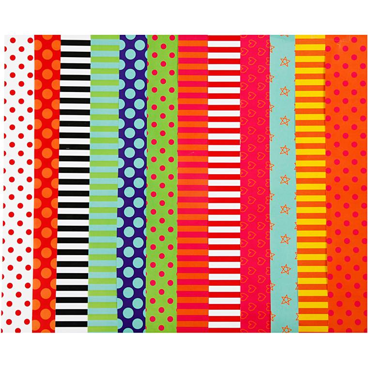 Mønstret glanspapir 12 assorterede designs og farver str. 32 x 48 cm 80 gram - 100 ark