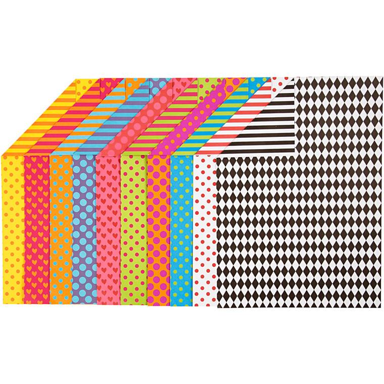 Mønstret karton, A4 210x297 mm, 250 g, ass. farver, 20ass. ark