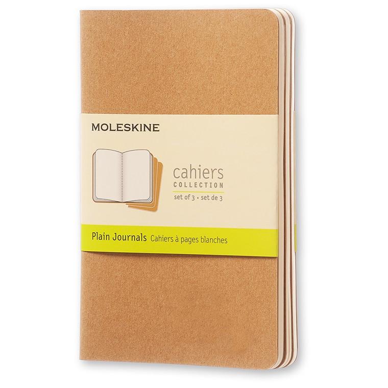 Moleskine Cahier Lommebog 9 x 14 cm - Brun 64 blanke sider - Sæt med 3 stk