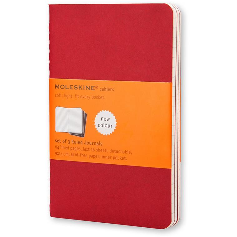 Moleskine Cahier 13 x 21 cm  - Cranberry Red 80 linjeret sider - Sæt med 3 stk