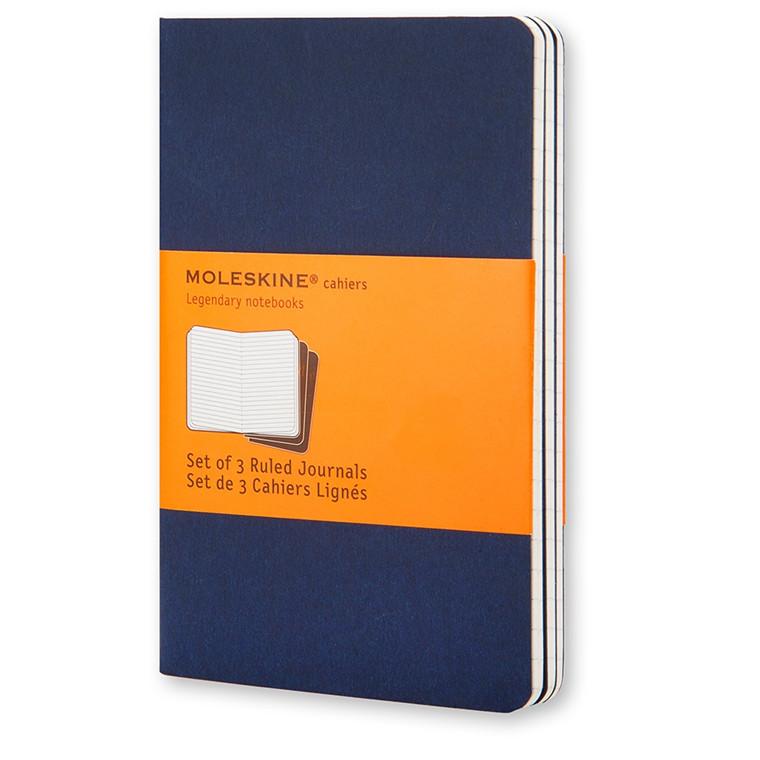 Moleskine Cahier 13 x 21 cm - Indigo Blue 64 linjeret sider - Sæt med 3 stk