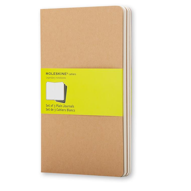 Moleskine Cahier 13 x 21 cm  - Brown 80 blanke sider - Sæt med 3 stk