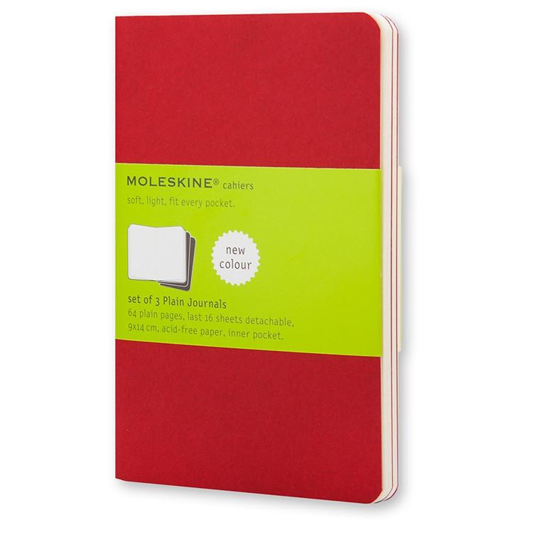 Moleskine Cahier 13 x 21 cm  - Cranberry Red 80 blanke sider - Sæt med 3 stk