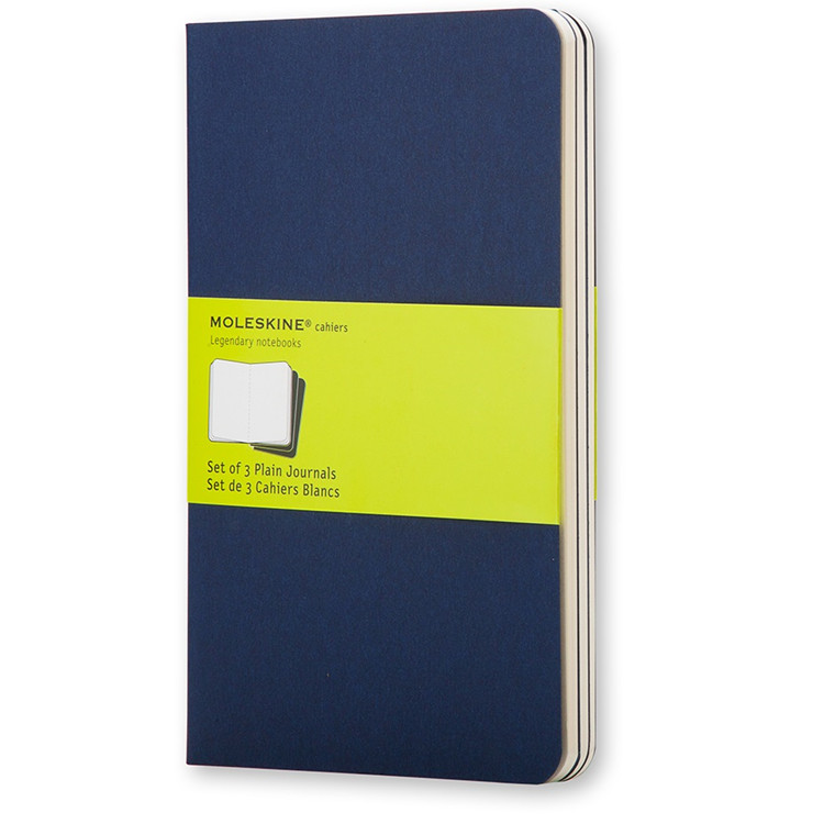 Moleskine Cahier 13 x 21 cm - Indigo Blue 80 blanke sider - Sæt med 3 stk