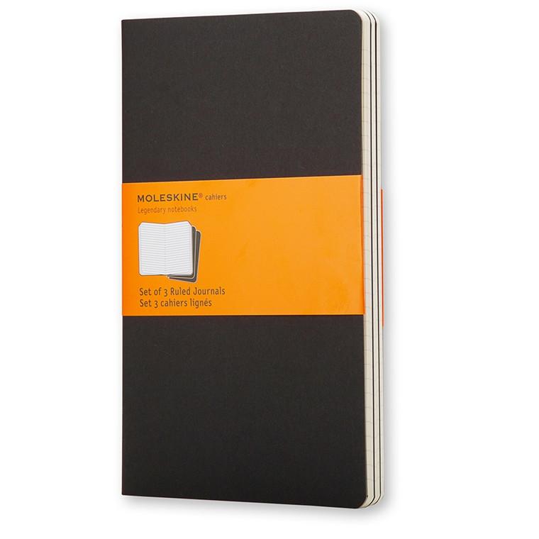 Moleskine Cahier Lommebog 9 x 14 cm - Black 64 linjeret sider - Sæt med 3 stk
